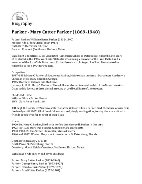 Parker - Mary Cutter Parker (1869-1948)